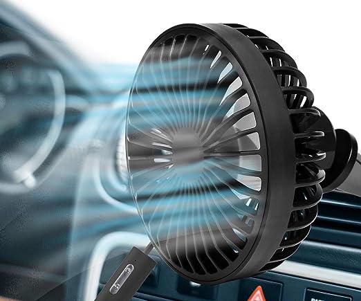 Mini Portable Cooling Fan USB 12V Portable Car Fan Air Cooler Desktop Mini Automotive Stand Ventilator Refrigeration Color : Black, Size : Single Fan with a car Charger