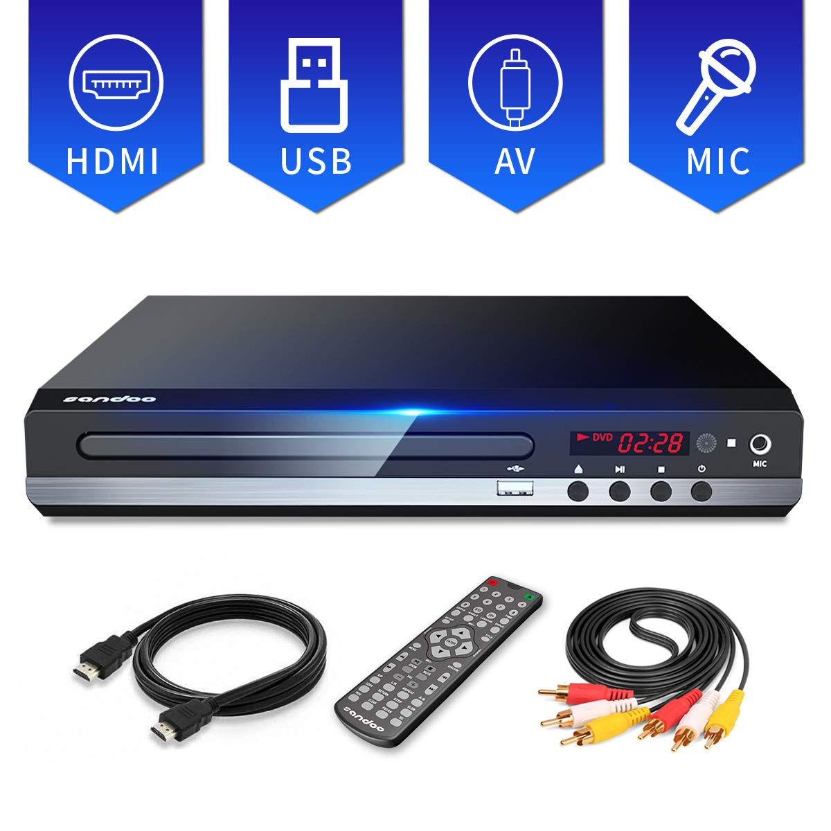 Sandoo DVD Player, All Region DVD CD/Disc Player For TV With HDMI/AV output, HDMI/AV cables included, HD 1080P, Supports USB/MIC, Built-in PAL/NTSC System, Coaxial Port and Remote Control