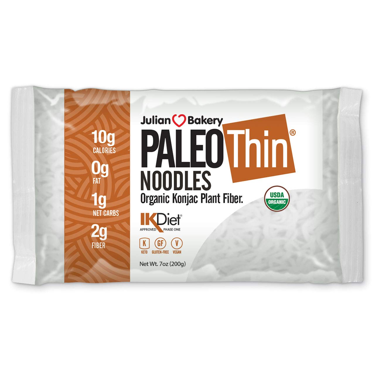 Organic Paleo Thin Noodles (6 Bags) Low Carb, Keto, Gluten Free, Vegan (Plant Based)
