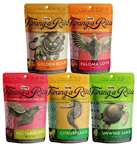 Twang-A-Rita The Original Flavored Cocktail Rimming Salt, Asst Fruity 5 Pack