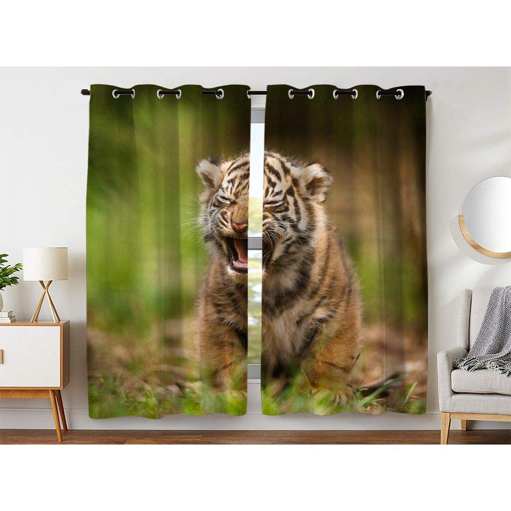 HommomH 54 x 84 Inch Tiger Cub Curtains (2 Panel) Grommet Top Blackout Shade Room Squinting Sad Expression Cute by HommomH