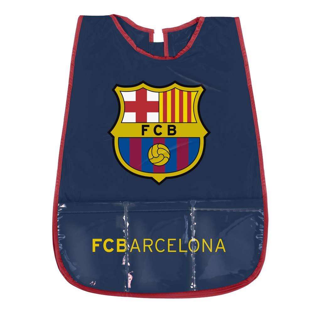 PERLETTI Delantal Infantil FC Barcelona - Bata Escolar Impermeable del Barç a con Bolsillo Delantero - Ideal para Mantener la Ropa Limpia y Seca - Azul - 3-5 Añ os 99689A
