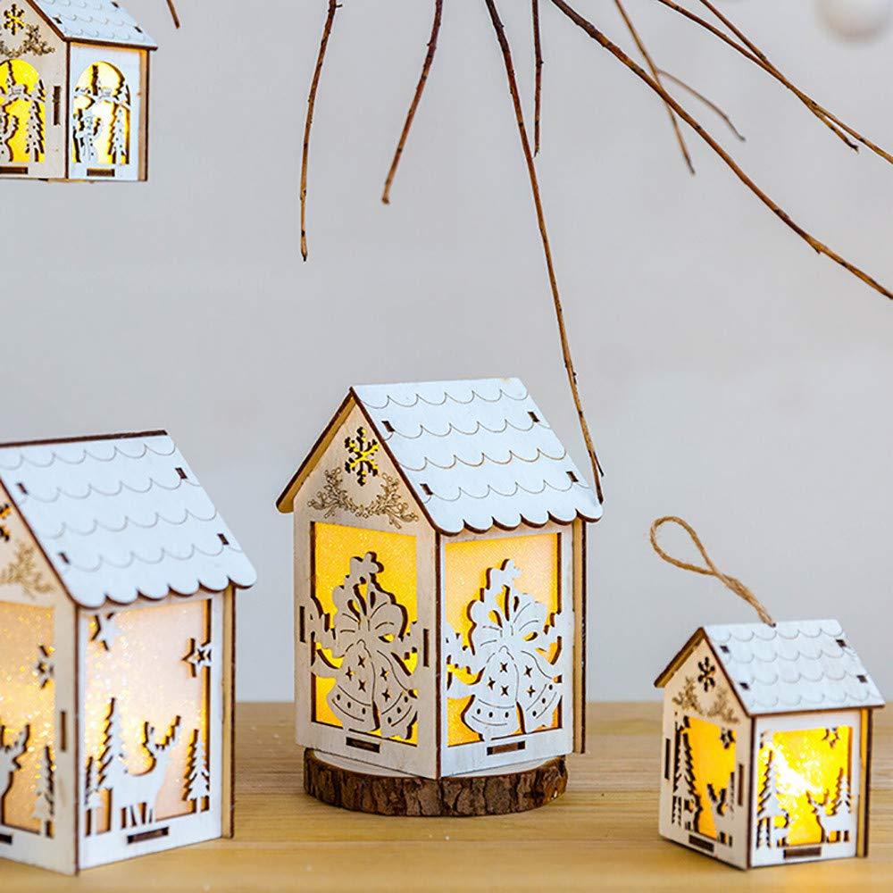 BBsmile Ornamentos Navidad Adornos navideños/Árbol de Navidad Carta de Decoracion Colgante Casa de Madera para Colgar Navidad Decoración (A): Amazon.es: ...