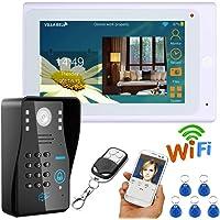 """NBKLS 7""""con Cable/inalámbrico WiFi, Timbre de Video, contraseña RFID, videoportero, Sistema de intercomunicación con Timbre, Soporte Remoto, APLICACIÓN"""