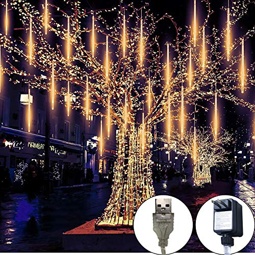 Meteor Lights,30cm 8 Tubes 248 LED Meteor Shower Raindrop Lights Waterproof Snow Falling Icicle Lights Outdoor Cascading String Lights for Garden Party Wedding Christmas Tree Patio(Warm White) (Cascading Christmas Tree)