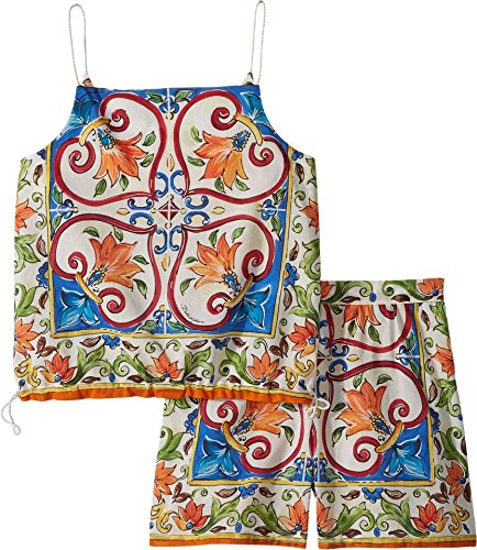 Dolce & Gabbana Kids Girl's Dress No Sleeve+Pants (Big Kids) Maiolica Print 12 by Dolce & Gabbana