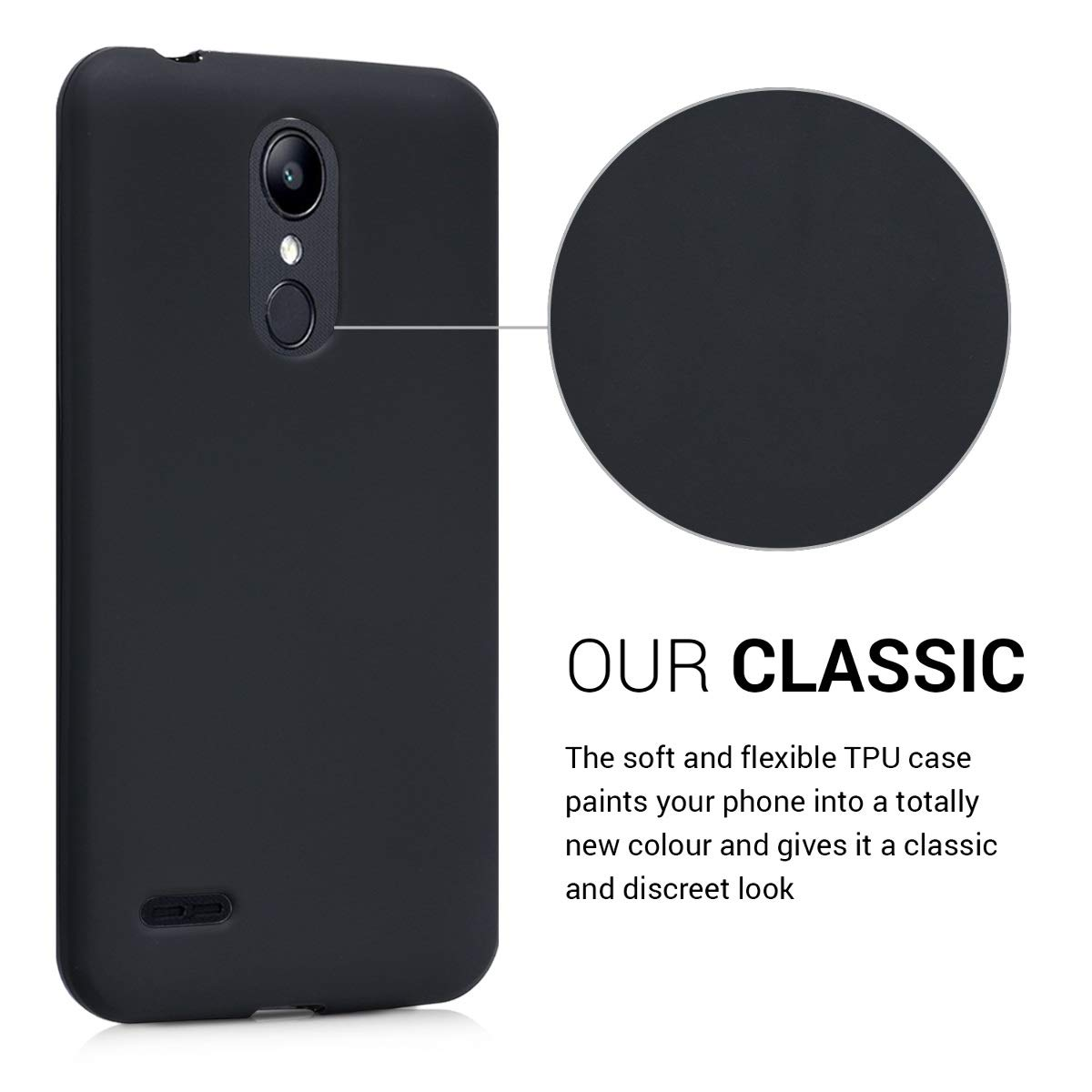 kwmobile TPU Silicone Case for LG K8 (2018) / K9 - Soft Flexible Shock Absorbent Protective Phone Cover - Black Matte