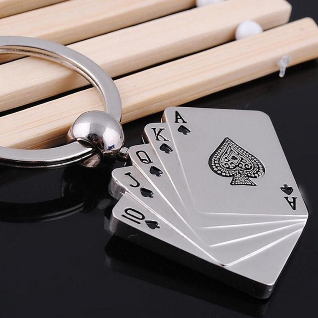 /Hearsbeauty Creative Cartes de poker en m/étal argent/é Cha/îne Porte-cl/és Anneau porte-cl/és Sac cadeau Pendentif/