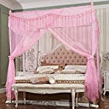 Royal- European Style Square Top Mosquito Net Three-door Encryption Thickening Single Double Bed Aluminum Alloy Bracket ( Color : Pink , Size : 1.8m (6 feet) bed )