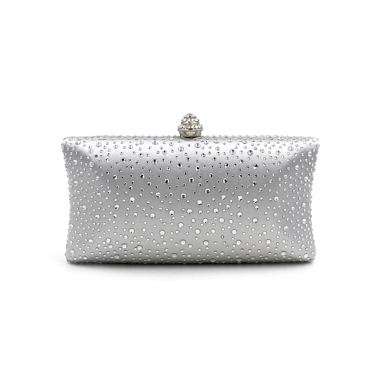 Jasmine15 Silver Bridal Rhinestone Evening Ring Clutch Bag Handbag Cocktail Purse
