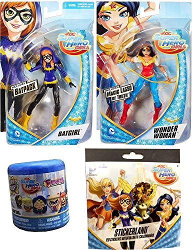 (Girls Rule Figures Pack DC Super Hero Action Collection Wonder Woman & Batgirl + Sticker Book & Squishy Blind Capsule Fashem Character Bundle)