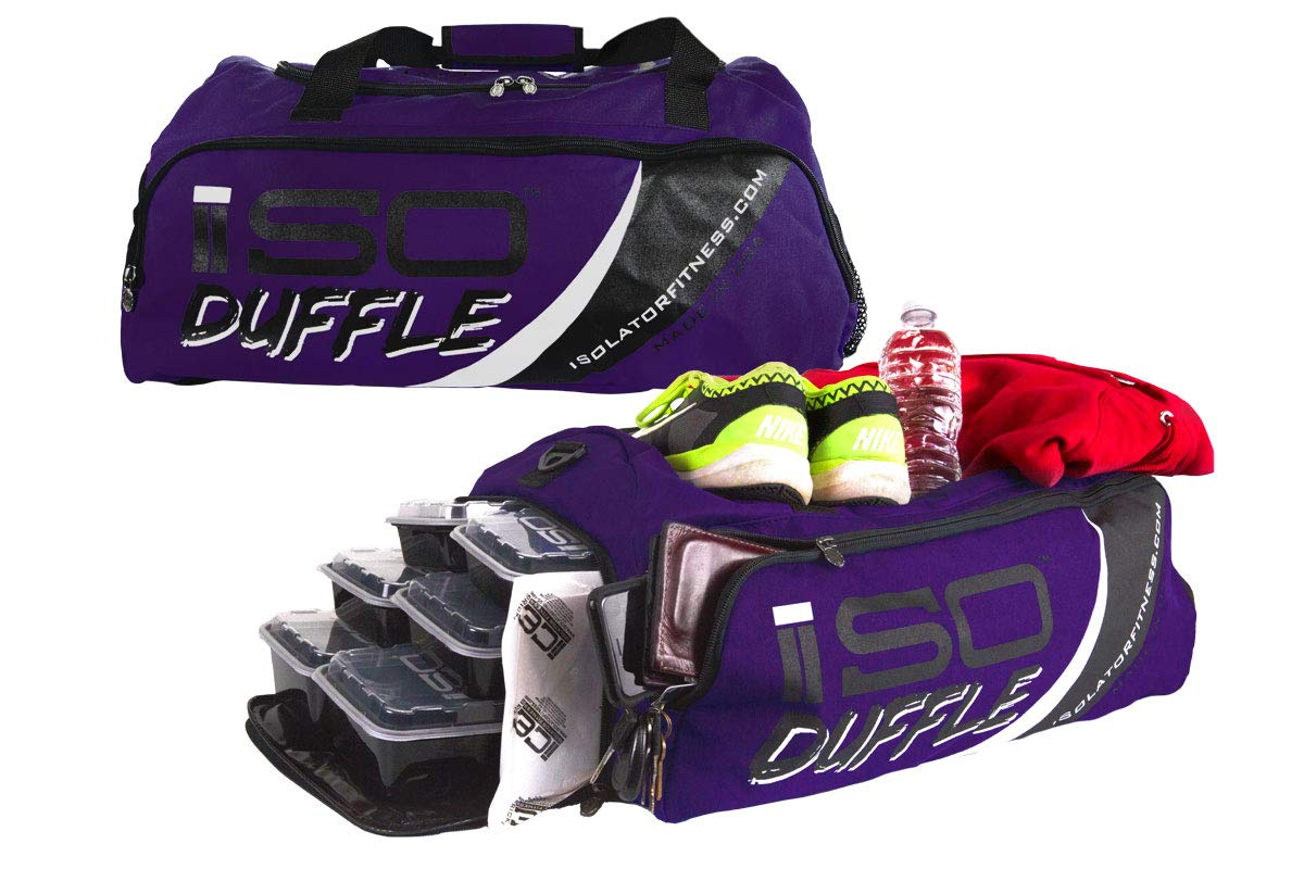 Isolator Fitness 6 Meal ISODUFFLE Gym Bag Meal Prep Management Insulated  Duffle Lunch Bag with 8 Stackable Meal Prep Containers, 2 ISOBRICKS and  Shoulder ... fc98f802fa