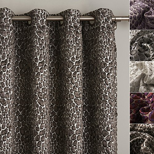 ChadMade Bubble Stone Jacquard Blackout Thermal Lined Curtain Panel Drape Antique Bronze Grommet Taupe 84Wx63L Inch - (1 - Panel Antique Butterfly