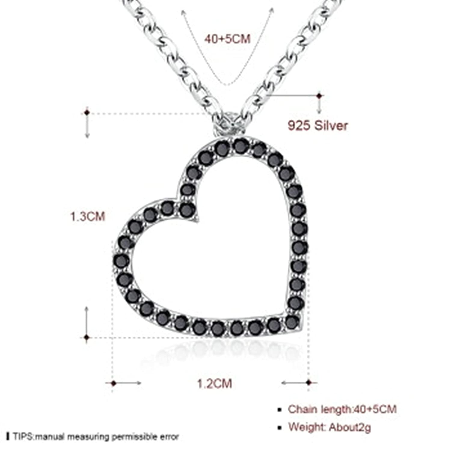 MoAndy S925 Sterling Silver Necklace Pendant for Women Heart Love Cubic Zirconia