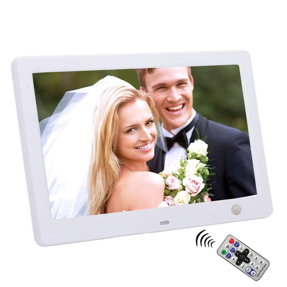 10'' Widescreen Hi-Res Digital Photo & HD Video Frame with Motion Sensor,Calendar/Clock/Function, MP3/Photo Player with Remote Control (White)
