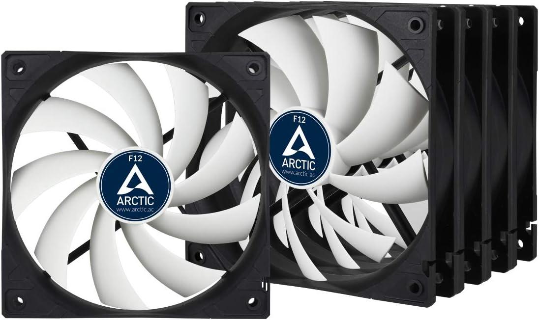 ARCTIC F12 - Ventilador para caja estándar de 120 mm, Silencioso, Instalación dos direcciones - Paquete de 5, 1350 RPM - Negro