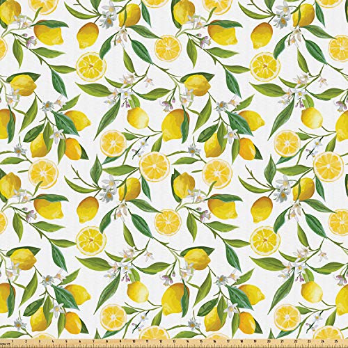 Ambesonne Nature Fabric by The Yard, Exotic Lemon Tree Branches Yummy Delicious Kitchen Gardening Design, Microfiber Fabric for Arts and Crafts Textiles & Decor, 1 Yard, Fern Green from Ambesonne