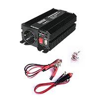 Erayak 300W Wechselrichter TÜV Zertifiziert, DC 12V auf AC 230V Spannungswandler, Konverter mit 1 EU Buchse, 1 USB Ports, Zigarettenanzünder Stecker, Autobatterieclips