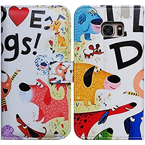 Bfun Packing Bcov Colorful Cute Dogs Card Slot Wallet Leather Cover Case For Samsung Galaxy S7 Sales