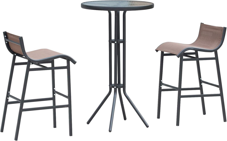 /Φ60x102cm Outsunny Set da Bar//Ristorante 3 Pezzi: 2 Sgabelli Nero e Marrone 1 Tavolo Vetro Temperato 40.5x50x82cm