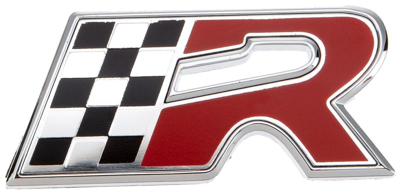 Lampa 07225 R-Flag - Emblema decorativo en relieve (55 x 25 mm), diseñ o de letra R y bandera de meta diseño de letra R y bandera de meta