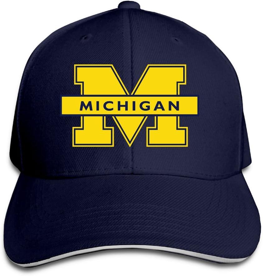 ACMIRAN Michigan Wolverines Logo Fashion Sandwich Baseball Caps One Size Navy