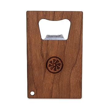 Turbina de avión abrebotellas con madera, tamaño de tarjeta de Crédito de acero inoxidable, abrebotellas para su cartera, tamaño de tarjeta de Crédito ...