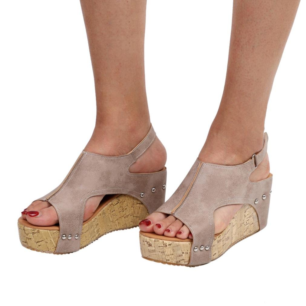 Sunbona Women Wedge Sandals Ladies Summer Peep Toe Ankle Buckle Platform High Heels Wedge Sandals Wedding Party Shoes (US:9(RU/EU/CN42), Khaki)