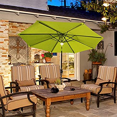 COBANA 9 Ft Solar Powered LED Lighted Alluminum Patio Umbrella Outdoor Umbrella Market Umbrella, 12 LED, 100% Polyester, Green