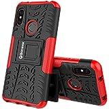 Bracevor Shockproof Hybrid Kickstand Back Case Defender Cover for Xiaomi Redmi 6 Pro - Red