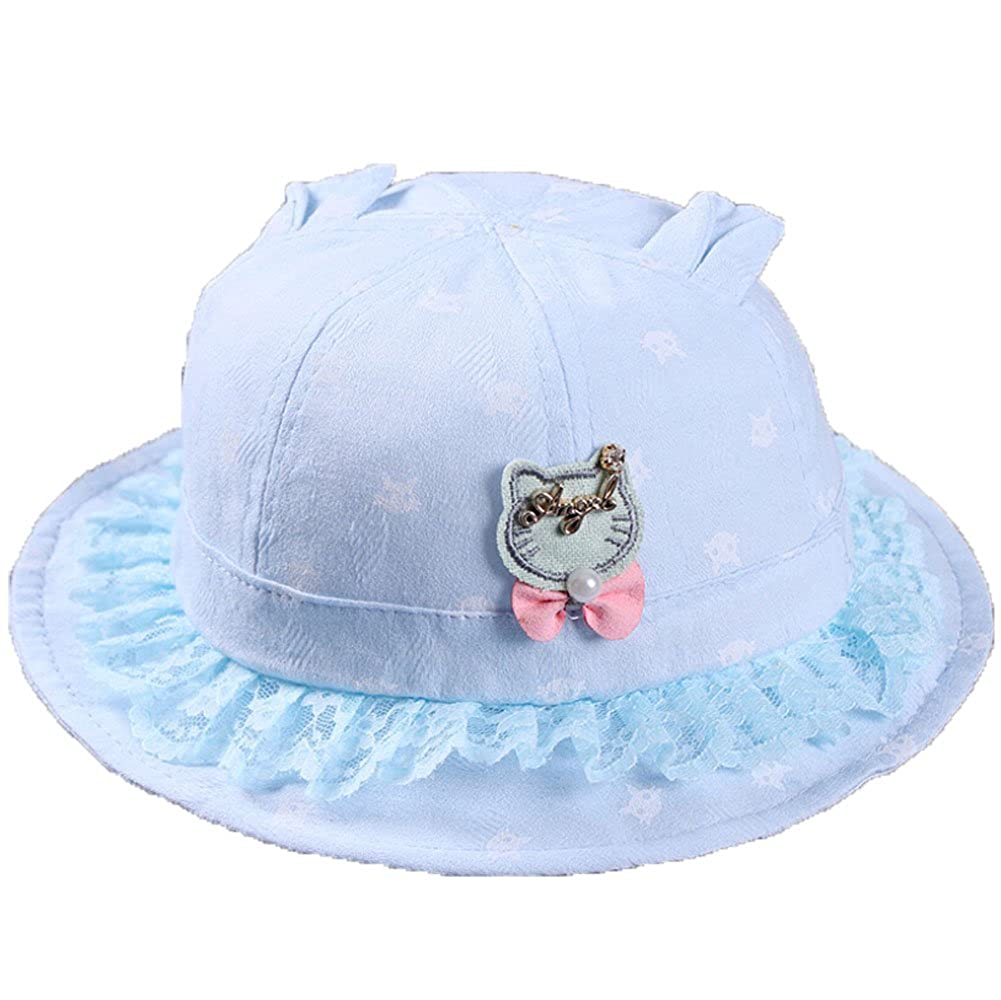 Newborn Baby Girls Cute Cat Ear Bucket Sun Hat Infant Princess Cap