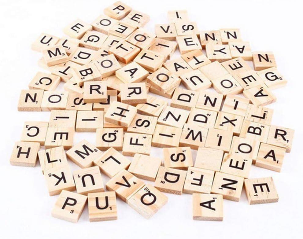Mioloe El Scrabble de madera del alfabeto 100pcs teja el número de las letras para los artes de madera: Amazon.es: Hogar