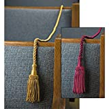 Pack of 2 Weighted Pew Reservation Rope with Tassels, Burgundy, 8 Foot