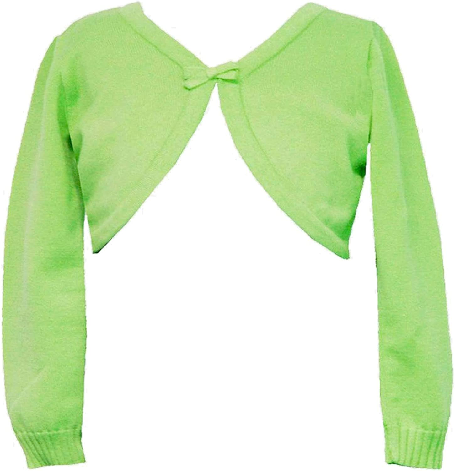 Rare Editions Big Girls Tween 7 16 Lime Green Long Sleeve Bow Trim Knit SweaterShrug