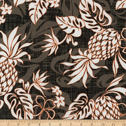 - Robert Kaufman 0539636 Kaufman Sevenberry Island Paradise Pineapples and Flowers Grey Fabric by The Yard
