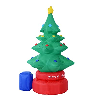 homcom 7 outdoor lighted christmas inflatable rotating christmas tree