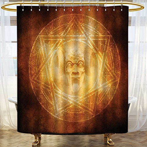 AmaPark Waterproof Mold Resistant Polyester Shower Curtain Demon Trap Symbol Logo Ceremony Creepy Ritual Paranormal Design Orange Anti Mold Water Resistant Healthy Fabric Curtain 72 x 96 inches by AmaPark