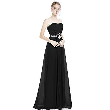 525da2dd47 ... Women Strapless Chiffon Dress Bridesmaid Wedding Long Evening Dresses  Rhinestone Empire Waist Formal Party Cocktail Pageant Sweetheart Ruched Maxi  Ball ...
