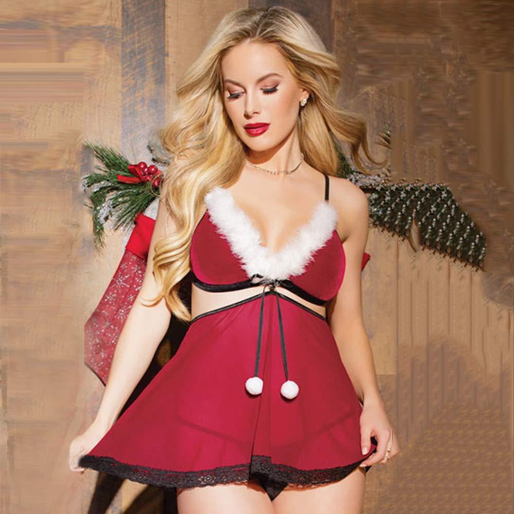 DOGZI Lencería Erotica de Mujer, Mujer Navidad Sexy Tentación lencería de Tres Piezas Talla Grande Picante Ropa Interior Traje de Mono (Sujetador+ Bragas + ...