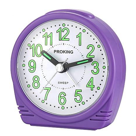 Viaje Despertador Analógico,Reloj de Alarma para Niños Pequeño Tamaño Simple con Pilas que no Hace Tictac Posponer Funciones de luz Reloj de Mesa de ...