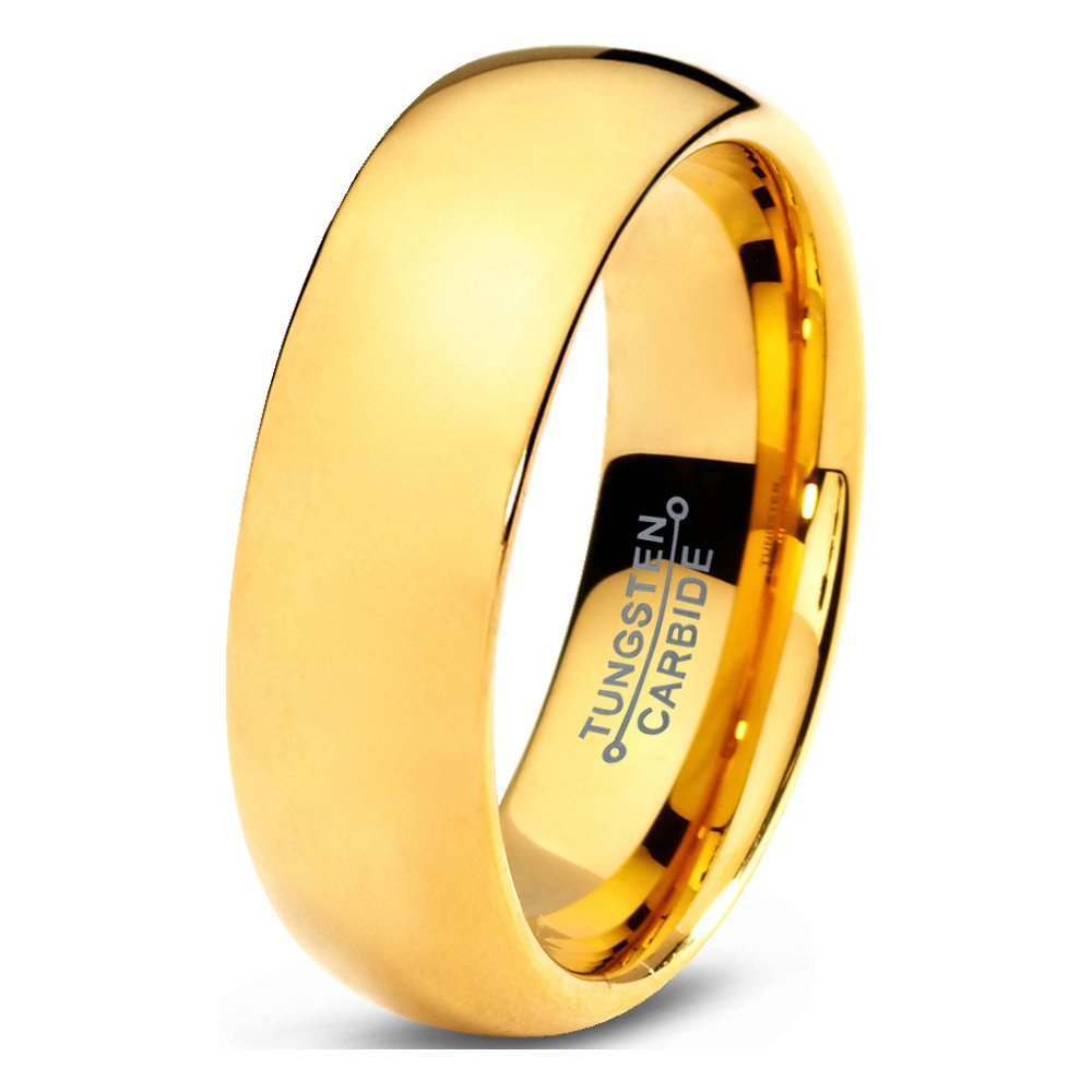 Tungsten Wedding Band Ring 7mm 5mm 2mm for Men Women Comfort Fit 18k Yellow Gold Plated Dome Polished FREE Custom Laser Engraving Lifetime Guarantee