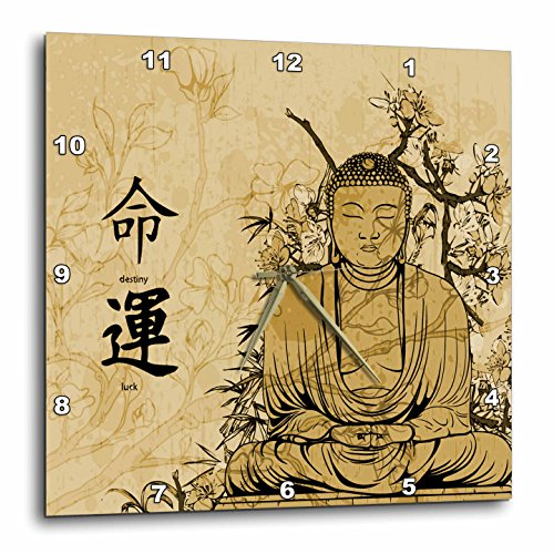 3dRose dpp_152985_1 A Brown Stained Buddha with Flowers &...