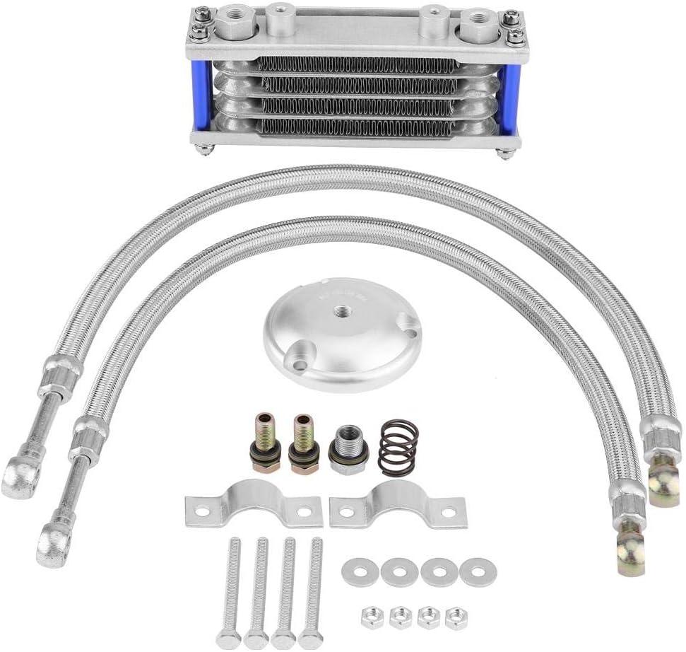 KIMISS Enfriador de aceite,65 ml motor de la motocicleta Transmition Oil Cooler Sistema de radiador de refrigeración del aceite del motor Kit + kit de adaptador de filtro para 125cc 150cc
