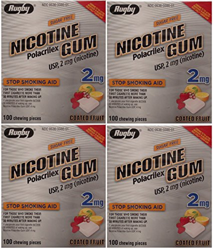 Nicotine Gum 2mg Sugar Free Coated Fruit Generic for Nicorette 100 Pieces per Box Pack of 4 Total 400 Pieces by RUGBY LABORATORIES