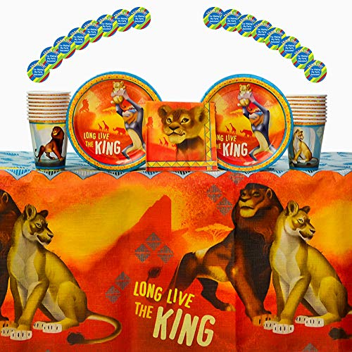 Lion King Party Supplies for 16 Guests | 16 Stickers, 16 Dessert Plates, 16 Beverage Napkins, 16 Paper Cups, and 1 Table Cover | Your Little Cub will Love These Lion King Birthday Decorations! -