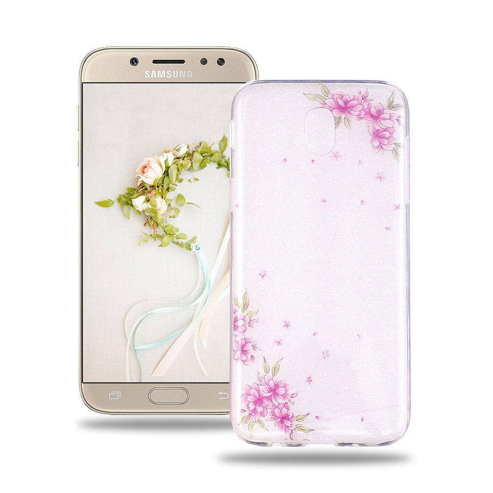 Baiwoda Coque Samsung Galaxy J3 2017 SM-J330F Protective Soft Silicone Case Etui en Caoutchouc TPU Housse Transparente Coque Ultra Mince Etui Anti Choc Anti Rayure Housse-Roses Squelettes