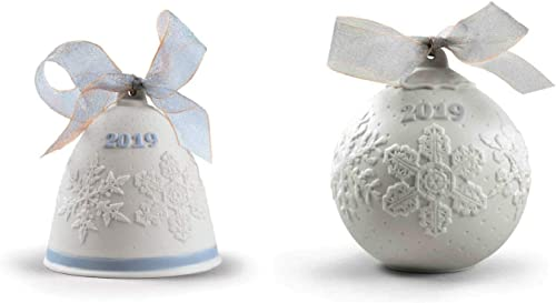 Lladro 2019 Christmas Bell Ball Set in Blue 18446 18443