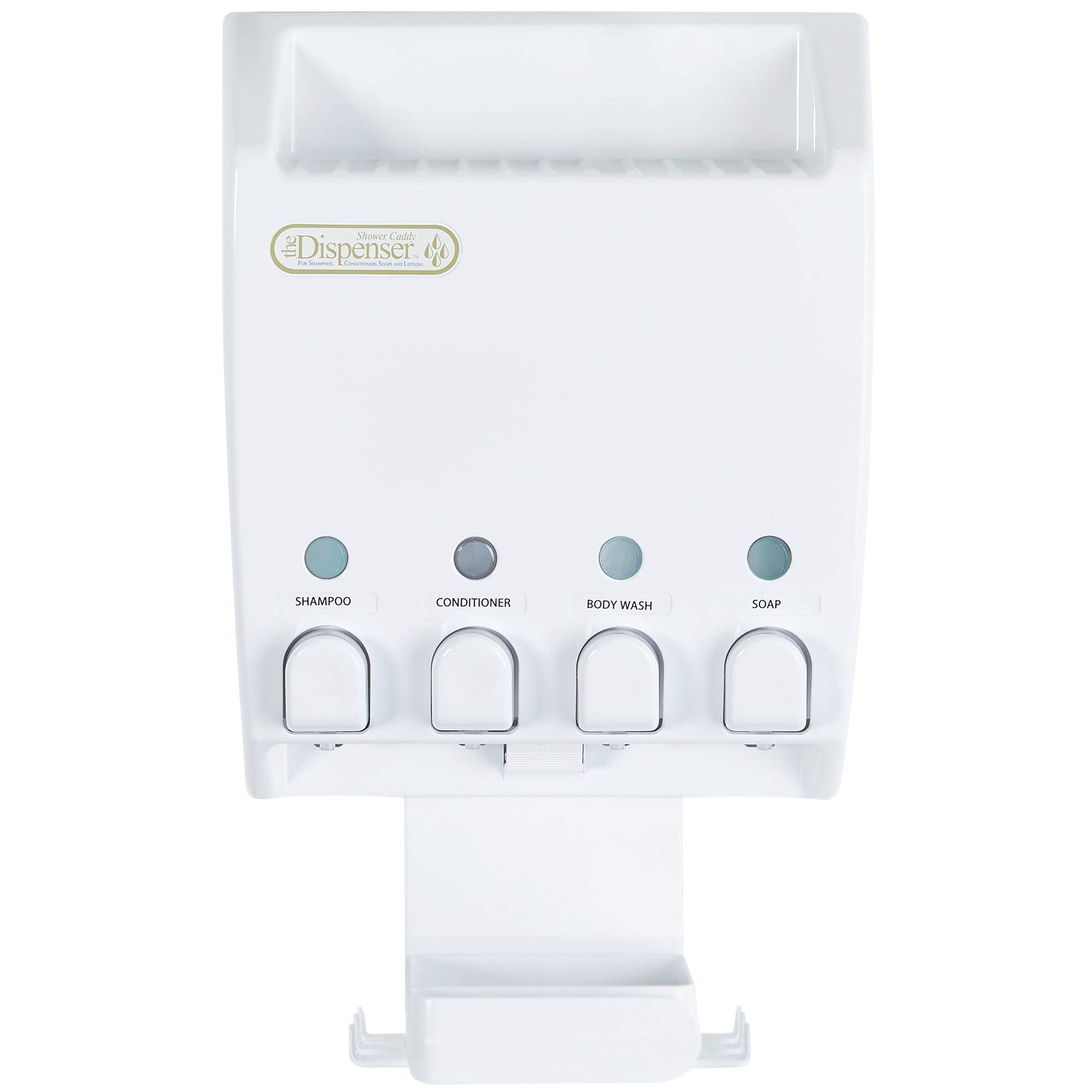 Better Living Products Dispenser Shower Caddy, Four Chamber Dispenser and Caddy, White (75453)