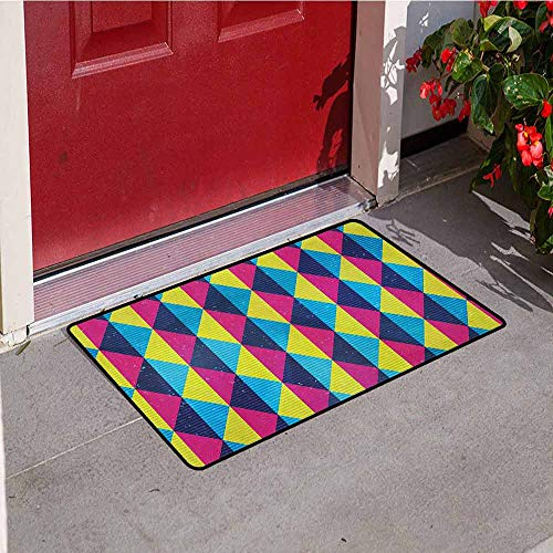 GloriaJohnson Vintage Front Door mat Carpet Sixties Inspired Triangles with Grunge Effect Colorful Geometric Retro Pattern Machine Washable Door mat W23.6 x L35.4 Inch Multicolor -
