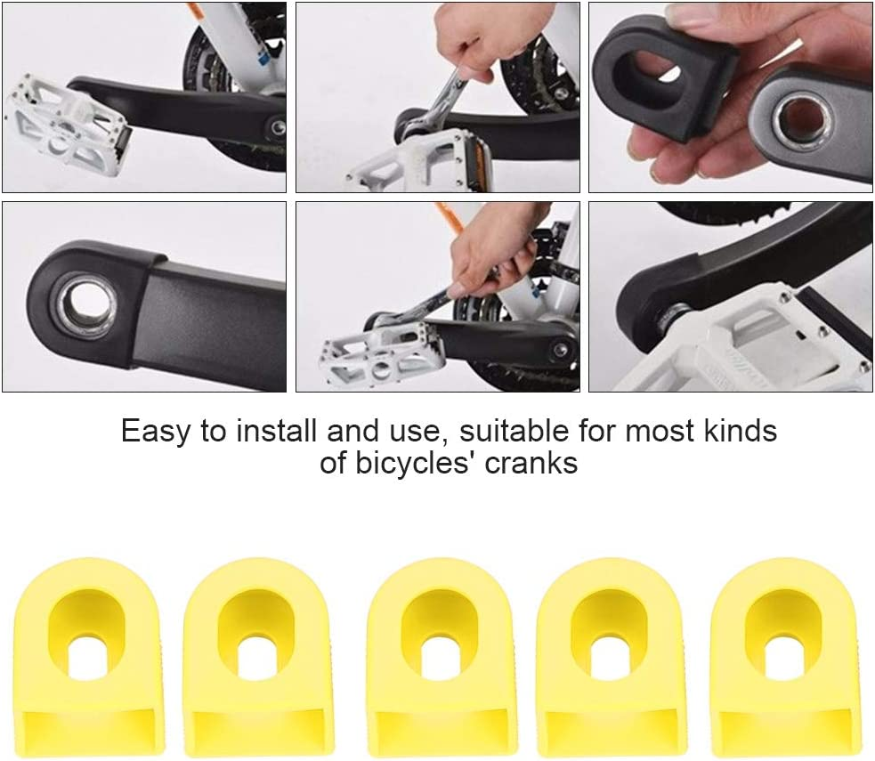 Crank Arm Boots 5 PCS Durable Rubber Crank Boot Protectors Bicycle Crank Protector for Most Mountain Road Bikes